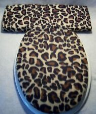 "LEOPARD fleece 14""x18"" Elongated Toilet Seat Lid and Tank Lid Cover Set 20""x8"""