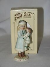 All Bisque Little Victorian Girl Holly & Her Doll Ornament