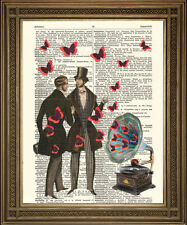 GRAMOPHONE, RED BUTTERFLIES & Victorian Gents: Vintage Dictionary Page Art Print