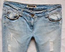 River Island Damas Jeans Tamaño 14 R Recto cultivo Tachuelas seguir tu sueño 34/23