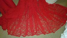 "1 MTR  RED CORDED BRIDAL LACE NET FABRIC.58"" WIDE"