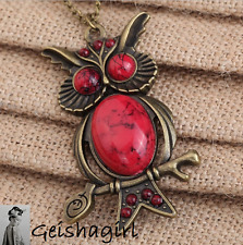 Retro Vintage Red Owl Pendant Long Necklace UK Seller