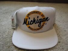 The Game University of Michigan Wolverine Script Snapback Tag Vintage New White