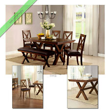 6 Piece Dining Set Maddox Table Chairs with Bench Wood Room Tables Sets for 6