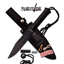 Mtech Fixed Blade W Compass Matches Tactical Survivor Hunting Knife #786BK