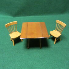 Vintage Shackman Wooden Doll House Drop Leaf Dinner Table W/Two Chairs