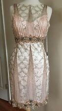 SUE WONG 1920's GATSBY Blush Beaded Sequin Wedding Bridal Cocktail Dress 6