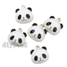 10pcs Black White Enamel Gold Plated Panda Head Pendants Animal Charms Crafts D