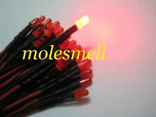 10pcs 3mm 12V diffused Red LED Lamp Light Set Pre-Wired DC Wired red lens leds