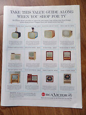 1958 RCA Victor TV Television Ad  Take this Value Guide Along Shows 12 Models