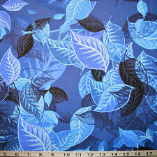 Timeless Treasures Fabric Overlapping Large Leaves Wildflowers by Judy Niemeyer