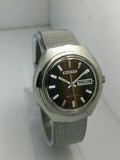 NOS Citizen vintage automatic brown dial watch new old stock, MINT 80's stock L1