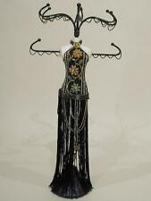 """Jewelry Organizer, Black Jeweled Gown Mannequin """"Multicolored"""""""