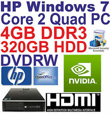 Windows 7 HP core 2 QUAD Desktop PC Computer - 4GB DDR3 - 320GB HDD-Wi-Fi HDMI