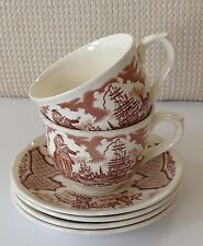 Alfred Meakin China FAIR WINDS Brown 2 Cups and 4 Saucer