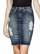 Guess Skirt Womens Jalisia Destroyed Denim Midi Skirt M (12) Dark Wash NWT