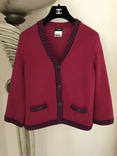 $2.8K GORGEOUS 11C CHANEL FUCHSIA PINK NAVY CASHMERE CARDIGAN SWEATER JACKET 40
