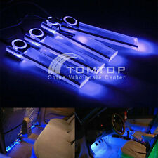 Car Decorative Floor Interior 4 LEDs Atmosphere Light + 1 Cigarette Lighter Blue