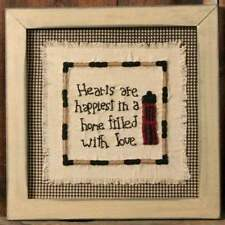 "FRAMED STITCHERY SALTBOX HOUSE INSPIRATIONAL INSPIRATIONAL WALL DECOR 11"" sq"