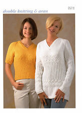 womens ladies sweaters dk or aran knitting pattern 71