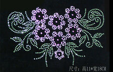 DIY green flower Hotfix Iron-on crystal Rhinestone Transfer clothes Neckline 721