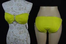 BarIII Womens Large Neon Yellow Strapless NEW Bikini Swimwear Bathing Suit