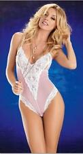 NEW SHEER PINK & WHITE LACE TRIM BODY STOCKING - UK SIZE 10