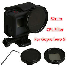 52mm CPL Circular Polarizer Filter + Lens Cap + Adapter Ring For GoPro Hero 5