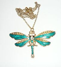Beautiful large sparkly teal green golden enamelled dragonfly necklace