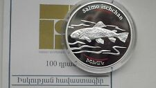 2007 Armenia 100 Dram Salmon Silver proof coin