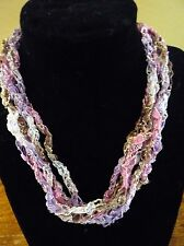 Handmade Crocheted Adjustable Ladder Ribbon Necklace - Wisteria Twinkle
