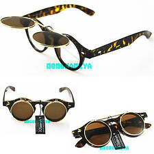 STEAMPUNK LEO GOGGLES FLIP UP SUNGLASSES TOP QUALITY RETRO VINTAGE MENS WOMENS