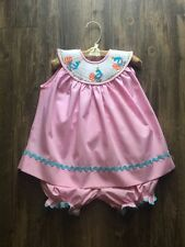 Remember Nguyen Girl's Pink Smocked Peacock Bloomer Set 2T