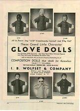 1946 PAPER AD Wolfset Glove Dolls Clown Monkey Negro Panda Bear Chinese Man