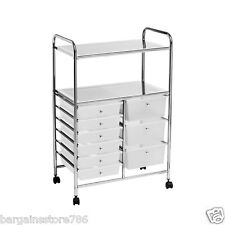 Multi Storage Trolley 9 Bay Plastic Drawers with 2 Chrome Shelves Mobile Cart