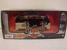 Harley Davidson VW Bus Samba Van Diecast 1:25 Maisto 8 inch Cream and Black 1/24
