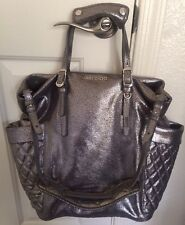 JIMMY CHOO 'Blare' Biker Bag Metallic Silver Crackled Leather Tote Purse