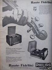 PUBLICITÉ 1958 ELECTROPHONE PHILIPS HAUTE FIDÉLITÉ NOVOSONIC - ADVERTISING