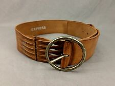 Express Leather Belt Wide Circle Buckle Brown Medium 34 36