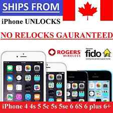 ➡➡  Unlock Rogers Fido Apple iPhone 4 4s 5 5c 5s 5se 6 6S 6 plus 6+ NO RELOCKS