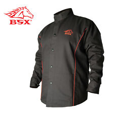 Revco BSX B9C 9oz. Black/Red Cotton Welding Jacket, Flame Resistant  Large