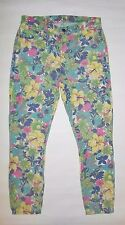 GOLDSIGN WOMENS JEANS VIRTUAL FLORAL PRINT FRONT BACK POCKETS EUC SIZE 28