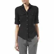 James Perse Anthropologie Black Solid Contrast Panel Buttondown Shirt Top 2 S M