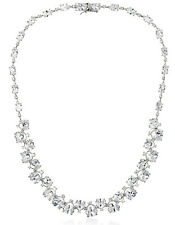NWT CZ by Kenneth Jay Lane Rhodium Plt Graduated Oval Stone Red Carpet Necklace