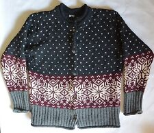 SKYR Ski Nordic Wool Alpine Fair Isle Cardigan Sweater Gray Burgundy Womens M
