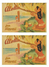 Hawaiian Print Vintage Hula Girl Poster Aloha Bamboo Placemats Set of 2 Hawaii N