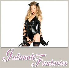 Black Vinyl Sexy Fancy Dress Jumpsuit Catsuit Outfit Wet Pvc Look Size 8 10 12