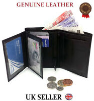 MENS GENUINE REAL SOFT LEATHER QUALITY WALLET LARGE COIN POCKET NOTE CARD POUCH