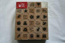 Lot of boxed wooden rubber stamps holidays sayings candy cane bear scrapbooking