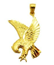 Men's 10K Yellow Gold  American Eagle Charm Diamond Cut Eagle Pendant